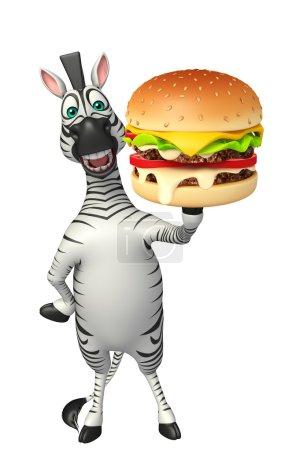 Photo pour 3D illustration rendue de personnage de dessin animé de zèbre avec burger - image libre de droit