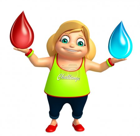 Photo pour Enfant fille avec goutte d'eau & goutte de sang - image libre de droit