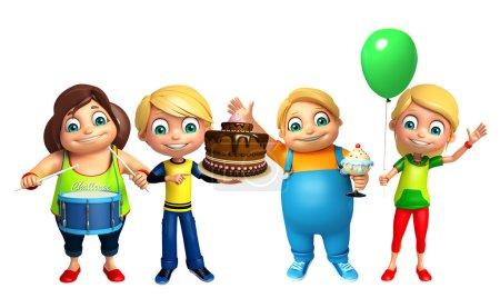 Photo pour Enfant garçon et fille avec gâteau d'anniversaire - image libre de droit