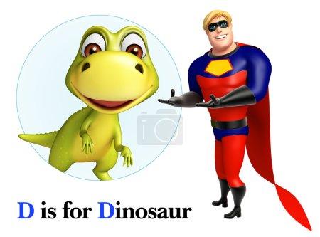 Super hero pointing Dinosaur