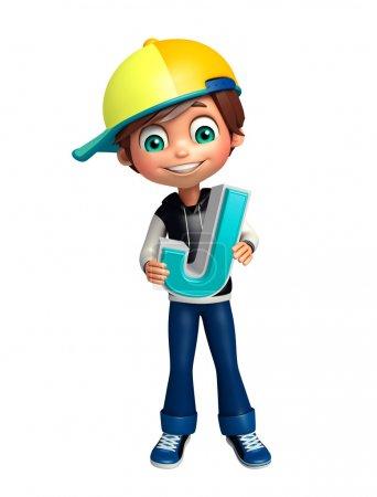 Photo pour Enfant garçon avec J alphabet - image libre de droit