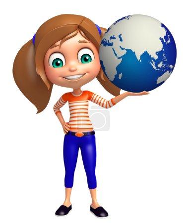 Photo pour Enfant fille avec la Terre - image libre de droit