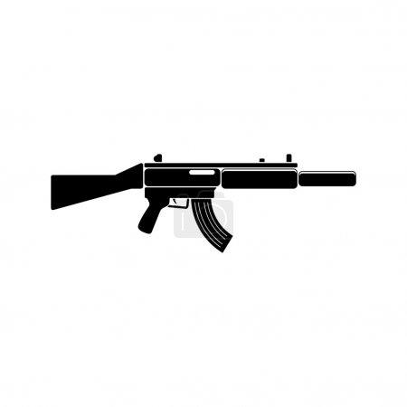 MP-5 Weapon black simple icon. Vector. Flat style ...