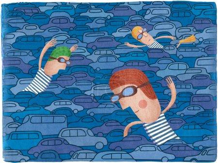 Traffic jam on the road. Creative illustration.