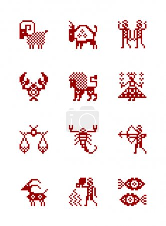 Illustration for Zodiac Symbol icons in style of north Russian pattern. Set of zodiac astrology - vector illustration - Royalty Free Image