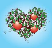 Creative illustration of a heart shaped apple tree