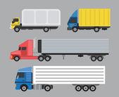 Trucks set Side view Cargo transportation Flat style icons and illustration