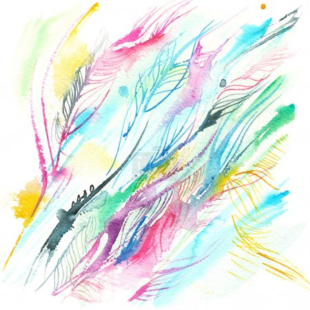 Photo for Abstract background of multicolored lines, plumage, watercolor sketch - Royalty Free Image