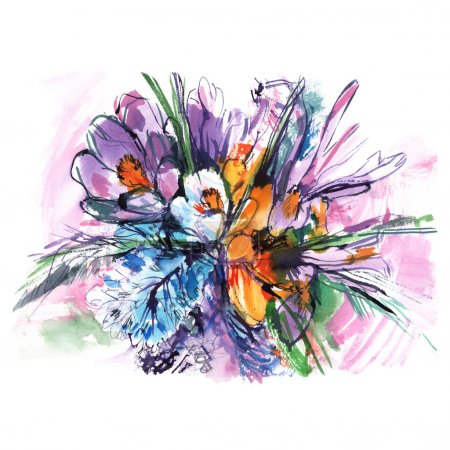 colorful watercolor bouquet flowers, purple pink and white irises, green shoots, picturesque background