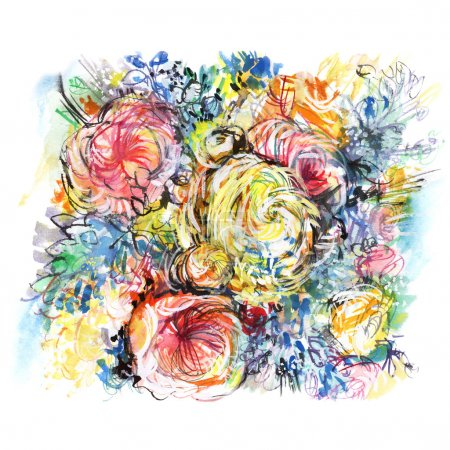 colorful watercolor bouquet flowers/ colorful watercolor bouquet flowers, buttercups pink, white & yellow roses, green shoots, blue flowers, picturesque background