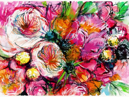 pink bouquet of flowers with two white buttercups , peony, chamomile, rose, watercolor painting