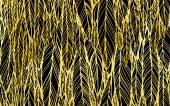 Seamless pattern of black gold feathers leaves optical illusion vector illustration