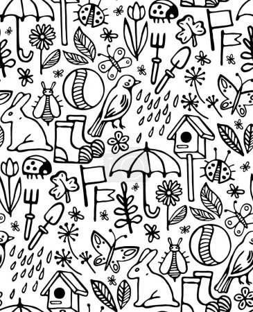 Print, seamless pattern, set of black icons and symbols on a white background, spring, summer, vector illustration