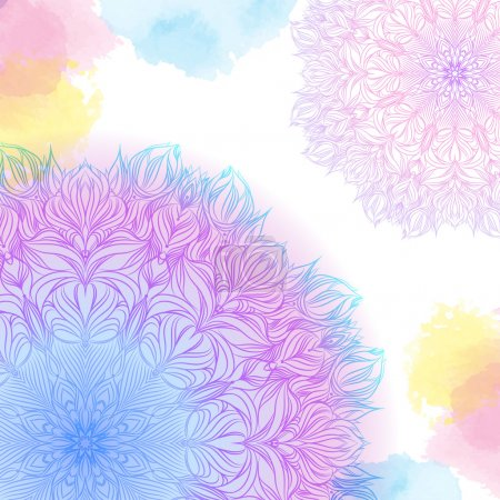 Illustration for Vector  pink and blue two mandala with watercolor stains. Decor for your design, lace ornament. Round pattern, oriental style - Royalty Free Image