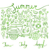 Summer, set of green icons and symbols with motorbike, inscription, vector illustration
