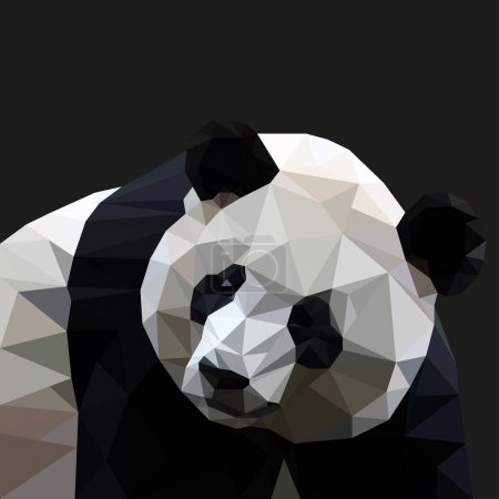Panda in the style of triangulation on a black background. Vector illustration