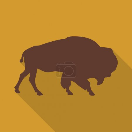 Icon bison on an orange background in the flat design. Vector illustration