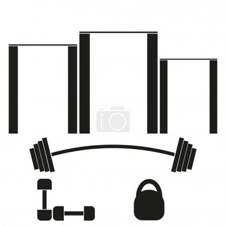 Sports banner with horizontal bars, barbells, dumbbells and weights