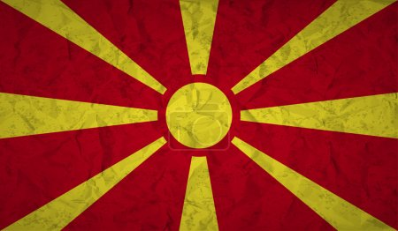 Flag of Macedonia with the effect of crumpled paper and grunge