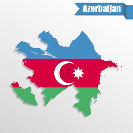 Azerbaijan map with flag inside and ribbon