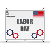 Labor day design elements on a stand for text with shadow