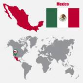Mexico map on a world map with flag and map pointer Vector illustration