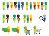 Ploché barevné ikony sbalit, lidé, lidé s penězi, lidé s vozíkem