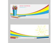 """Постер, картина, фотообои """"Вектор баннер с цветными карандашами."""""""