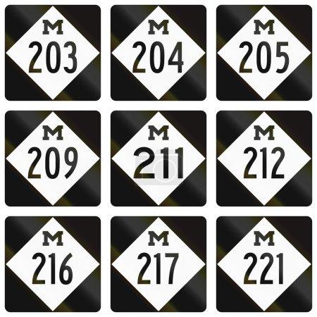 Photo pour Collection de boucliers Michigan Route utilisés aux États-Unis . - image libre de droit