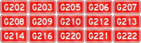 Photo pour Collection de boucliers de route de la Chine Autoroutes nationales . - image libre de droit