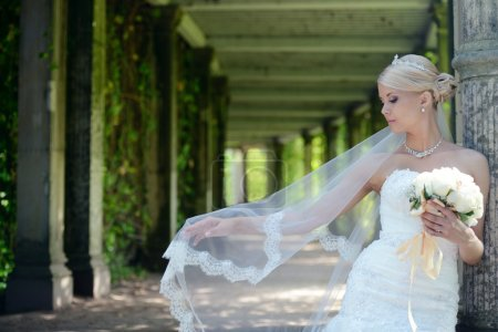 Beautiful blonde bride in wedding dress
