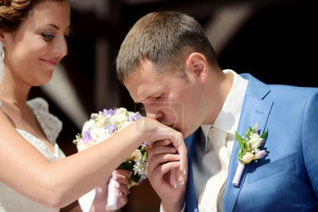 bride and groom registering marriage