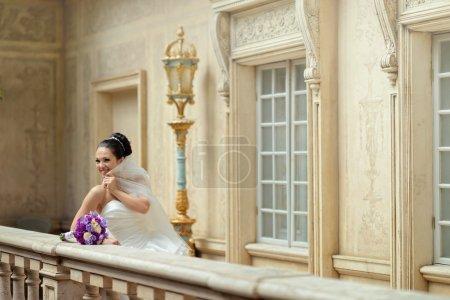 Beautiful brunette bride in wedding dress