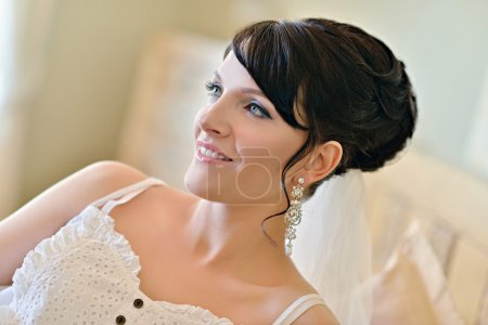 Beauty bride in dressing gown