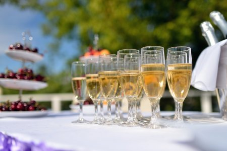 champagne glasses on wedding table