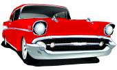 Vector Classic Vintage Car with single layer background color