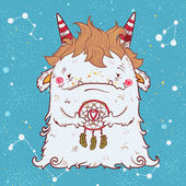 cute fluffy smiling white monster