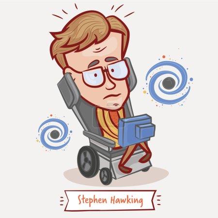 Photo pour Moscou, Russie - 18 octobre 2015 : vector illustration d'un portrait de Stephen Hawking sur un fond neutre - image libre de droit