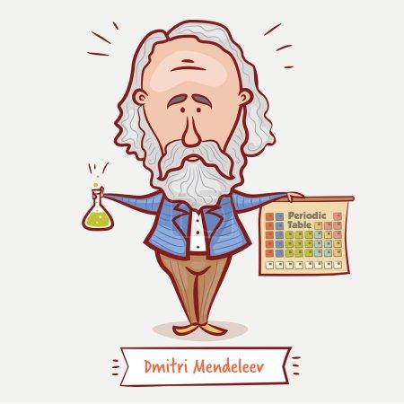 Photo pour Illustration vectorielle du scientifique, chimiste Dmitri Mendeleev avec un flacon chimique et le tableau périodique dans une veste bleue avec une barbe - image libre de droit