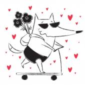Valentine's Day card with fox
