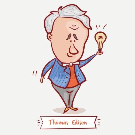 Photo pour L'inventeur Thomas Edison avec une ampoule dans une veste bleue - image libre de droit