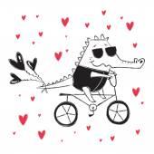 Valentine's Day card with crocodile on bike