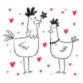 Valentine's Day card with chickens