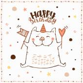 Happy Birthday card with cat