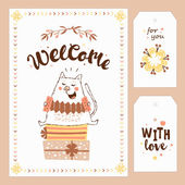 card with cat, flowers and hand lettering