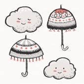 Cute grey clouds and vintage umbrellas