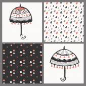 seamless patterns with cute umbrellas