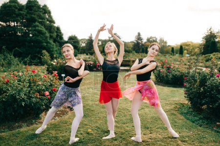 Photo for Three young beautiful ballerina women in shite tights and colorful skirts posing with grace in summer park. - Royalty Free Image