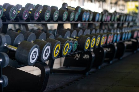 Photo for Row of dumbbells in gym. Colorful dumbbell set in sport fitness club center. - Royalty Free Image