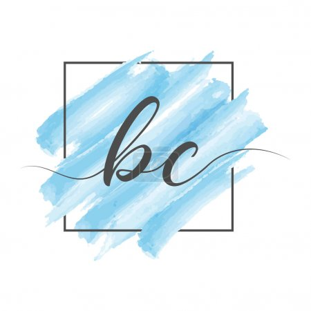 Illustration pour Calligraphic lowercase letters BC in a single line on a colored background in a frame. Vector illustration isolated on a white background. Creative design. - image libre de droit